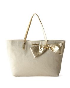 Gold bow tote