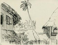 [ #DESSIN ] A l'ombre des cocotiers - Blu Marlin Village, #Zanzibar http://www.lescarnets.fr/sketch.php?id=1368 #art #voyage