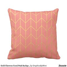 Shop Gold Chevron Coral Pink Background Modern Chic Throw Pillow created by GraphicsByMimi. Coral Throw Pillows, Gold Chevron, Coral Pink, Custom Pillows, Make It Yourself, Chic, Modern, Fabric, Color