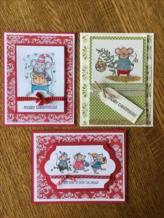 Christmas cards made with Stampin' Up Merry Mice stamp set.