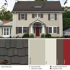 House Exterior Color Schemes, Exterior Paint Colors For House, Paint Colors For Home, Exterior Colors, Tan House, Outside Paint, Pintura Exterior, House Paint Color Combination, Roof Colors