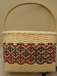 Plaid overlay Basket Tote with Sturdy by BHBasketsNBeadworks, $40.00