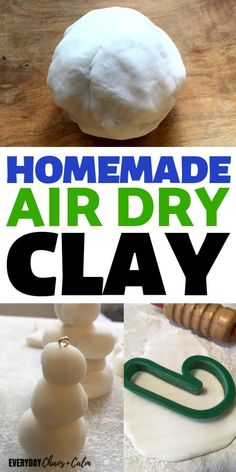diy clay Are you looking for a homemade air dry clay recipe This is it! Its an easy 3 ingredient air dry modeling clay that dries hard at room temperature! Diy Fimo, Diy Clay, Homemade Polymer Clay, Polymer Clay Recipe, Clay Projects, Diy Craft Projects, Craft Ideas, Salt Dough Projects, Salt Dough Crafts