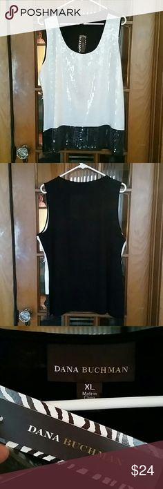 Black and White Tank Dana Buchman Black & White Tank. Front is covered in clear sequins.  Back is solid black. Size is XL length is 26 1/2 inches, armpit to armpit is 19 inches NWT Smoke Free Home Dana Buchman Tops Tank Tops