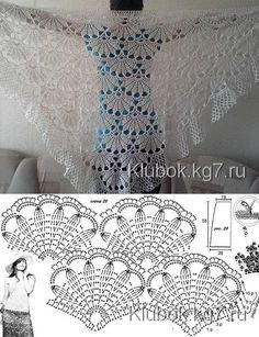 Crochet Diy, Filet Crochet, Poncho Au Crochet, Crochet Shawl Diagram, Crochet Prayer Shawls, Beau Crochet, Crochet Shawls And Wraps, Crochet Motifs, Thread Crochet