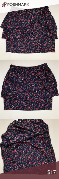 """Navy Floral Skirt Brand new. Was a gift and never worn. Bottom layer fits like a short pencil skirt. Hidden side zipper. Approx measurements: 15.5"""" L, 13"""" across waist (no stretch so I'd say if your waist is 25-26"""" or smaller u should fit it).  💌Pics taken in natural sunlight & enhanced to make item clearer. True colors may be slightly darker or lighter. Papaya Skirts Mini"""