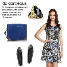 Go Gorgeous > http://faborskip.com/post/104832713894/go-gorgeous-go-gorgeous-with-abstract-print-dress   Go gorgeous with abstract print dress with some classic accessories that never goes out of fashion.