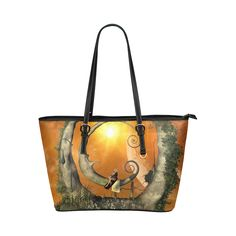 The moon Leather Tote Bag/Large (Model 1651)