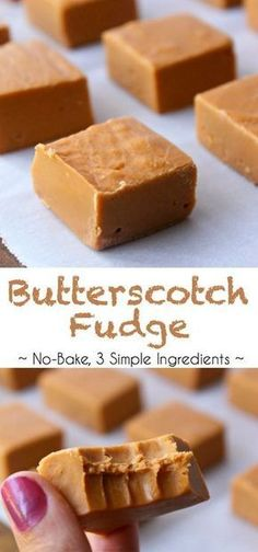 Easy Butterscotch Fudge With 3 Simple Ingredients. In addition This Is A No-Bake Fudge Recipe, Which Is Even Better. Easy And Delicious Maple Fudge Recipes, Baked Fudge Recipe, Milk Recipes, Candy Recipes, Sweet Recipes, Baking Recipes, Dessert Recipes, Simple Fudge Recipe, Easy Fudge