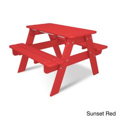 Polywood Kids Picnic Table (Sunset Red) (Plastic)