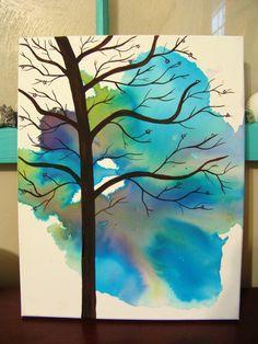 """A Little Glimpse- 11"""" x 14"""" canvas watercolor painting. $25.00, via Etsy."""