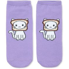 Forever21 Cat Breading Ankle Socks ($1.90) ❤ liked on Polyvore featuring intimates, hosiery, socks, forever 21 socks, cat print socks, tennis socks, cat socks and forever 21