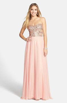 Morgan & Co. Embellished Cutout Sweetheart Bodice Strapless Gown (Juniors) available at #Nordstrom