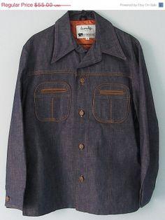 d947551a51 Vintage 60s 70s Mens Hard Denim Jacket Satin Lined