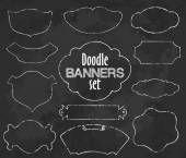 Vector Collection of Chalk contour Style Banners, set one — Ilustração de Stock #97326514