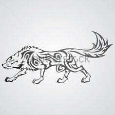 Vektor-Bild von tribal Wolf tattoo