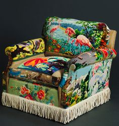 A Suzie Stanford pink flamingos tapestry chair. Funky Furniture, Unique Furniture, Painted Furniture, Kitsch, Eclectic Chairs, Deco Boheme, Cool Chairs, My New Room, Pink Flamingos