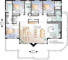 Discover the plan 3942 (Brookside) which will please you for its 4 bedrooms and for its Cottage, chalet, cabin styles. A Frame House Plans, Best House Plans, House Floor Plans, Contemporary Style Homes, Contemporary House Plans, Cottage House Plans, Bedroom House Plans, Drummond House Plans, Monster House Plans