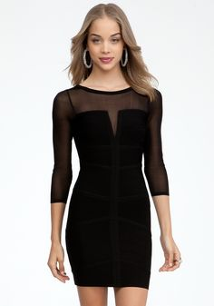 bebe   Mesh Contrast Deep V Bandage Dress - View All #bebewishlist \\every girl needs a simple black dress ! this is cute