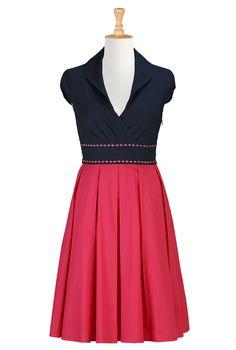 Cotton poplin colorblock dress