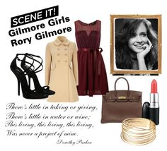 Rory Gilmore from Gilmore Girls by fashionnanxiety on Polyvore featuring Madam Rage, Wallis, Giuseppe Zanotti, Hermès, top handle bags, sheer, camel coats, cuff bracelets and strappy heels