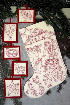 Nativity Pageant RedWork Stocking / Baby Jesus by ChristmasJul, $9.00