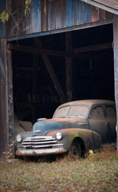 Old car in the barn.