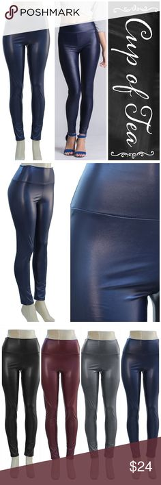 """20% OFF BUNDLESNavy faux leather fleece leggin Hot item for fall! Navy faux leather leggings. High waisted. Lightly lined with fleece, not thick and heavy. Pair these with anything!!!! Also available in black, wine or grey. Inseam is 27""""-28"""" due to stretch. I'm modeling the black in medium. SMALL: 2-4 MEDIUM: 6-8 Large: 10-12 XLARGE: 14-16. Very stretchy and machine washable. CupofTea Pants Leggings"""
