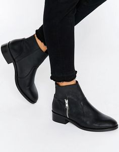 Image 1 of ASOS AMPLIFY Leather Biker Boots