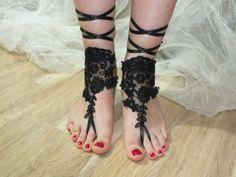siyah fransız dantelli, plaj düğün sandalet, gelin sandalet, düğün sandalet, düğün gelinlik, yalınayak sandles, giysisi ücretsiz gemi