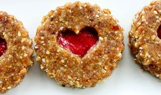 Raw Linzer Heart Cookies and Raspberry Chia Jam Linzer Tart, Linzer Cookies, Vegan Dating, Raw Vegan Recipes, Vegan Food, Raw Desserts, Raw Chocolate, Heart Cookies, Food Processor Recipes
