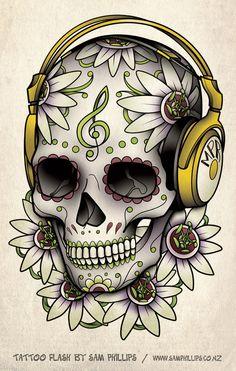 I created this sugar skull wearing head phones tattoo design for Martyn Roberts Skull Headphones Tattoo Tatuagem Headphones, Skull Headphones, Headphones Tattoo, Music Headphones, Skull Candy Tattoo, Sugar Skull Tattoos, Henna Tattoos, Body Tattoos, Skull Tattoo Design