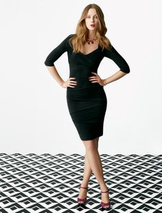 Our best-selling Instantly Slimming Dress -- now in a chic 3/4 sleeve (and petites, too!) #whbm #instantlyslimming #fall