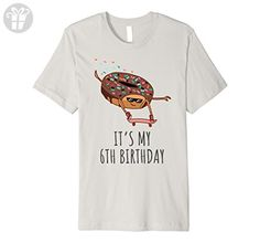 1bb837c44 Mens It's My 6th Birthday Donut on a Skateboard Funny T-Shirt 2XL Silver -