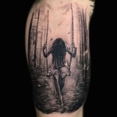 Girl on swing tattoo by Marius P! Limited availability at Revival Tattoo Studio.