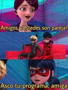 Re-sí. Esta sería se pone cada vez más interesante.  Nuevos villanos.... Nadie quiere saber..ah ok Fun In Spanish, Lady Memes, Ladybug E Catnoir, Funny Jokes, Hilarious, Miraculous Ladybug Memes, Rap, Spanish Memes, Yandere
