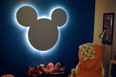 Awesome DIY Mickey nightlight - Make for Gracie's new room maybe with a Minnie Mouse Bow? Christmas Lights Behind it. @Michelle Flynn Flynn barron