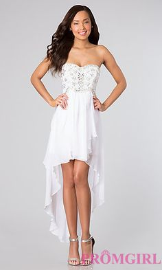 Shop for long prom dresses and formal evening gowns at Simply Dresses. Short casual graduation party dresses and long designer pageant gowns. Short Semi Formal Dresses, High Low Prom Dresses, Cheap Prom Dresses, Dresses 2014, Dress Formal, Wedding Dresses, Short Dresses, Strapless Party Dress, White Strapless Dress