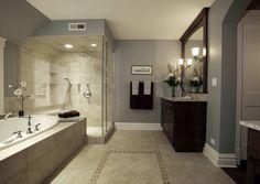 Beige tile bathroom ideas beige bathroom tiles ideas and pictures grey and white bathroom tile ideas Tile Paint Colours, Bathroom Paint Colors, Color Walls, Bath Paint, Wall Colors, Beige Tile Bathroom, Grey Bathrooms, Cosy Bathroom, Bathroom Beadboard