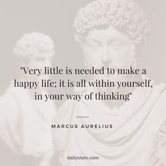 """""""Very little is needed to make a happy life;""""Very little is needed to make a happy life;"""" - Marcus Aurelius (RSS generated with FetchRss ) Wise Quotes, Quotable Quotes, Great Quotes, Words Quotes, Wise Words, Inspirational Quotes, Strong Quotes, Attitude Quotes, Sayings"""