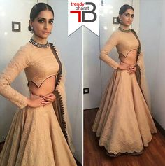 Sonam Kapoor : The fashionista in a Nude coloured lehenga .. #bollywoodfashion…