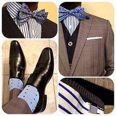 Socks, striped shirt, bow ties