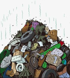 Illustration about Cartoon of a smelly garbage dump. Illustration of stink, sink, dish - 28439277 Garbage In The Ocean, Save Earth Drawing, Wwf Poster, Ocean Drawing, Waste Art, Earth Drawings, Robot Cartoon, Trash Art, Stop Motion