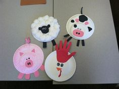 Art Project: paper plate farm animals - My best shares Farm Theme Crafts, Farm Animal Crafts, Animal Crafts For Kids, Vbs Crafts, Animal Projects, Preschool Crafts, Paper Plate Art, Paper Plate Crafts, Paper Plates