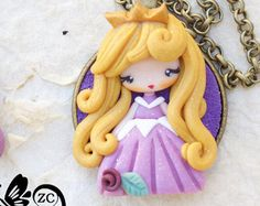 Set of original princess look clay pendant by KellyBowieDesign