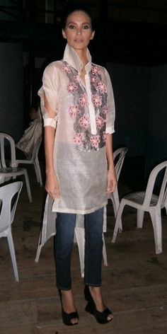 Manila Wear- Barong w/ appliqued lace bib