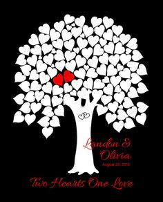Wedding Tree Guest Book Red White Black by WillowTreeArtworks, $31.95