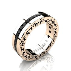 Modern Art Nouveau 14K Rose Gold Channel Princess Black Diamond Wedding Ring A1005-14KRGBD