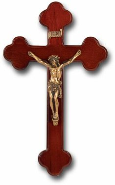 """Latin Style"" Dark Cherry Cross with Museum Gold Corpus Made from Furniture Grade Wood (Comes Gift Boxed) Catholic Gifts, Religious Gifts, Steel Shelving, Wood Shelves, Types Of Steel, Wood Crosses, Steel Bar, Corpus Christi, Crucifix"