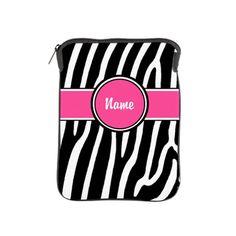 Pink Zebra Print Personalized iPad Sleeve